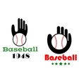 Baseball icons or emblems with people hand vector image vector image