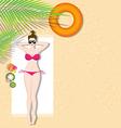 beautiful girl lying on beach vector image vector image