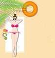 Beautiful girl lying on the beach vector image vector image