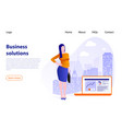 businesswoman on background big city concept vector image vector image