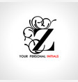capital letter z decorated with vegetable vector image vector image
