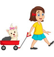 cartoon little girl pulling wagon with puppy vector image vector image