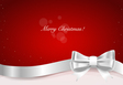 Christmas background Gift bow and Shiny ribbon on vector image vector image