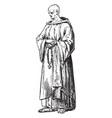 cistercian monk vintage vector image vector image