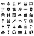 construction bulldozer icons set simple style vector image vector image