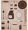 Cookware home cooking background vector image