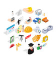 creative work icons set isometric style vector image