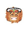 cute japanese sushi character roll with funny vector image vector image