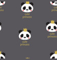 cute panda princess pattern vector image