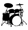 drum kit silhouette vector image vector image