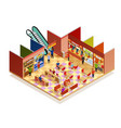 food court isometric composition vector image vector image