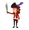 happy girl with pirate costume and sword vector image