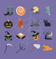 happy halloween purple background trick or treat vector image vector image