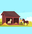 horse barn equestrian composition vector image