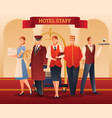 hotel staff flat composition vector image vector image