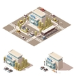 isometric low poly police building icon vector image vector image