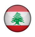 lebanon flag in glossy round button of icon vector image