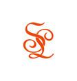 letter sl symbol curves linked ribbon logo vector image vector image