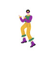 man in bright mardi gras costume and mask vector image vector image