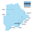 map botswana with flag and main cities vector image vector image
