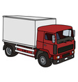 Red and white delivery truck vector image