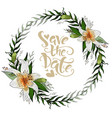save the date postcard wreath with lily flowers vector image