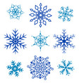 set blue of different forms of snowflakes vector image