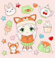 set cute stickers in kawaii style vector image vector image