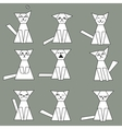 set funny geometric cats vector image
