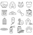 set of icons in line style pet shop animals vector image vector image