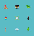 set of ramadan icons flat style symbols with vector image vector image
