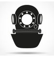 Silhouette symbol of Underwater diving helmet vector image vector image