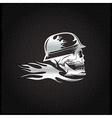 silver skull in helmet with flame concept design vector image