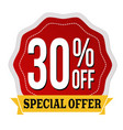 special offer 30 off label or sticker vector image vector image