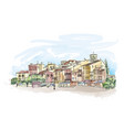 street cafe in old city cityscape houses vector image