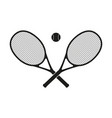 two crossed tennis rackets vector image vector image