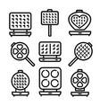 waffle-iron kitchen outline icons set vector image