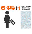 woman price tag icon with 1300 medical business vector image vector image