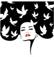 woman silhouette with birds fashion vector image vector image