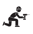 worker with screwdriver black concept icon vector image vector image