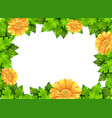 yellow flower frame template vector image vector image