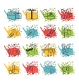 Celebration icons with color spray spots vector image