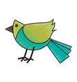 colorful crayon silhouette of cartoon bird vector image