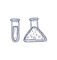 hand drawn laboratory equipment test tubes vector image