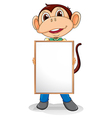 A smiling monkey holding an empty board vector image vector image