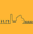 an outline of a factory and people vector image