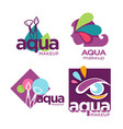 aqua makeup cosmetics and beauty salon or company vector image