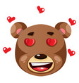 bear is feeling in love on white background vector image