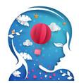 beautiful paper head girl air balloon vector image vector image