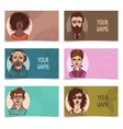 Business cards with sketch faces vector image